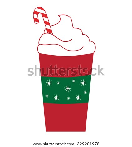 Candy Cane Peppermint Latte - stock vector