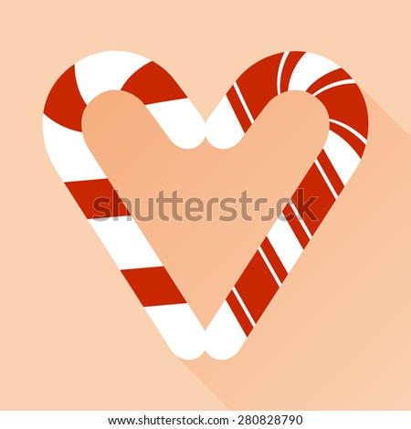 Candy cane style heart  on pink vector background - stock vector