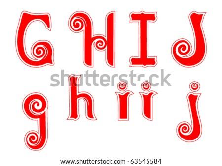 Candy Cane Swirl Letters G g H h I i J j - stock vector