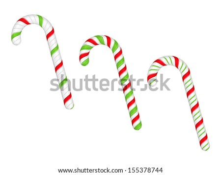 Candy canes on white background, vector eps10 illustration - stock vector