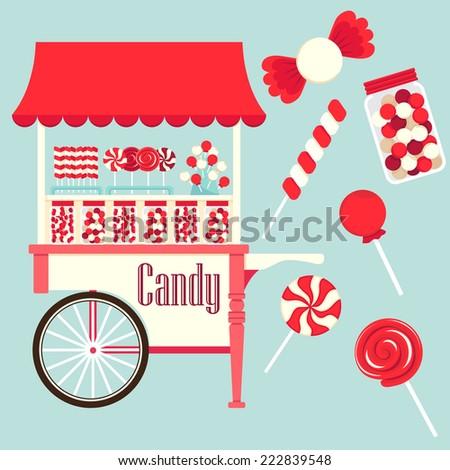 Candy cart vector. - stock vector