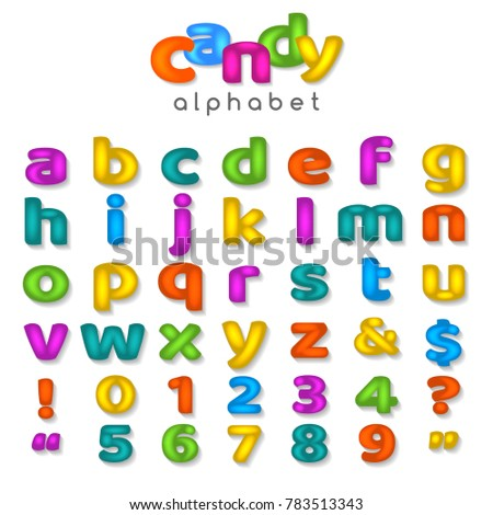 Candy Color Alphabet Kids Font With Fun Cartoon Letters And Bubble Sweet Numbers Isolated On