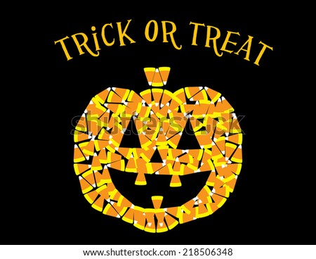 Candy Corn Pumpkin with the words 'Trick or Treat' - stock vector