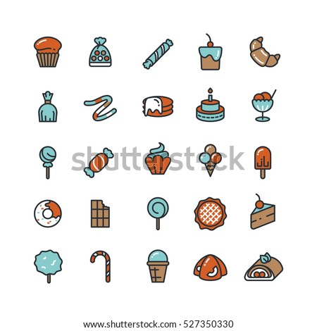 Candy, desserts, ice cream, sweets, donut vector icons.