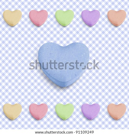 Candy heart background for new boy born announcement - stock vector