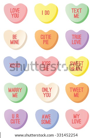Candy Hearts - stock vector