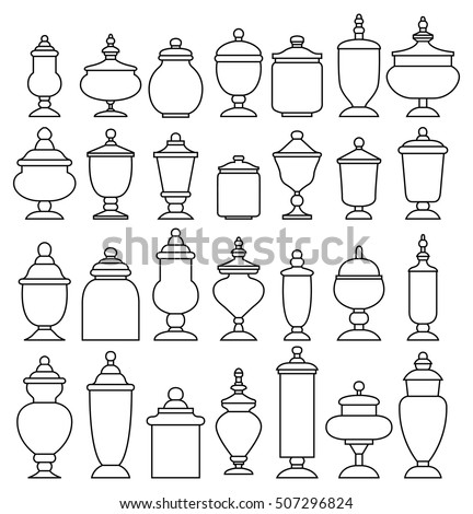 Candy jar collection. Vector illustration.