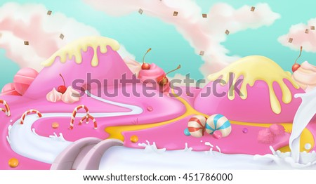 Candy land. Pink sweet landscape, vector 3d background - stock vector