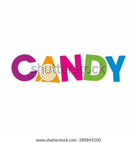 candy logo design template. Lollipop sign. word mark. logotype. - stock vector