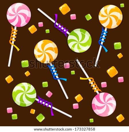 Candy lollipops background pattern
