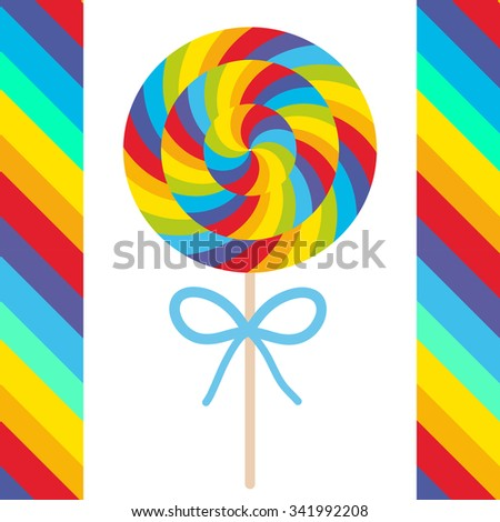 candy lollipops with bow, colorful spiral candy cane. Candy on stick with twisted design on white background with bright rainbow stripes. Vector - stock vector