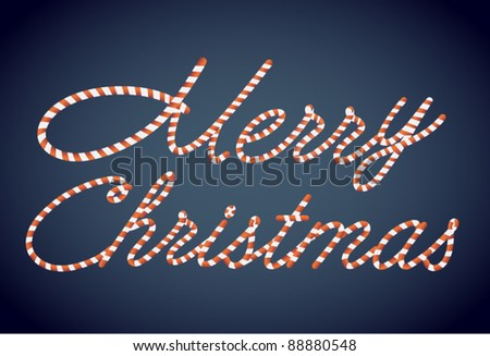 Candy Merry Christmas Vector Lettering - stock vector