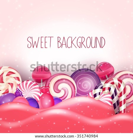 Candy of pink land background.Vector - stock vector