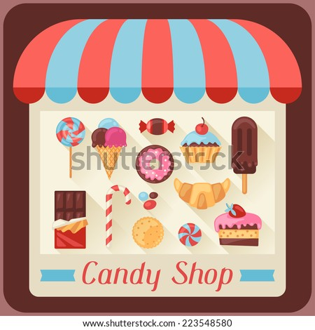 Candy shop background with candy, sweets and cakes. - stock vector