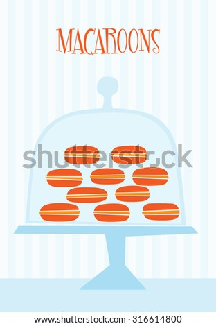 Candy shop with macaroons  - stock vector