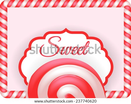 Candy sweet pink retro background with shadow - stock vector