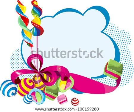 candy, sweets, candies against cards tied with red ribbon with a bow - stock vector