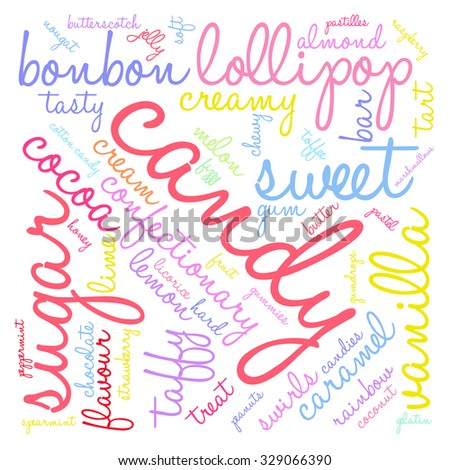 Candy word cloud on a white background.  - stock vector