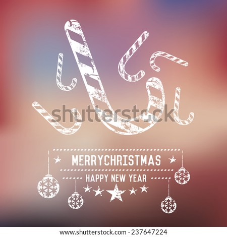 Candy,Xmas on blur background,clean vector - stock vector