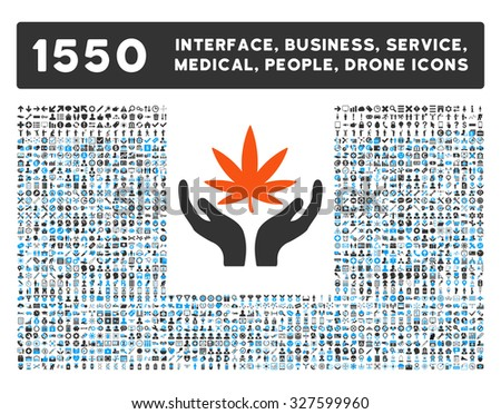 Cannabis Care and other web interface, business tools, people poses, medical service vector icons. Style is flat symbols, bicolored, rounded angles, white background. - stock vector