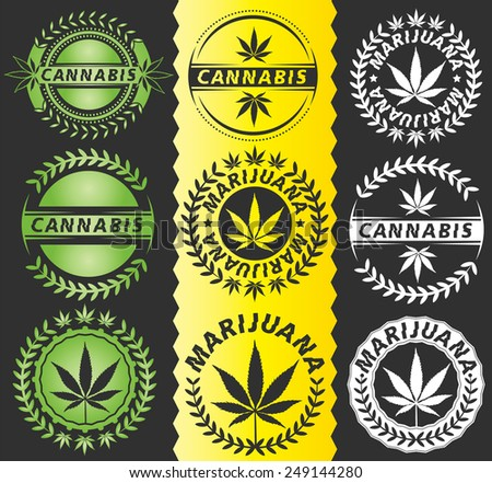 cannabis ganja marijuana leaf design symbol - stock vector