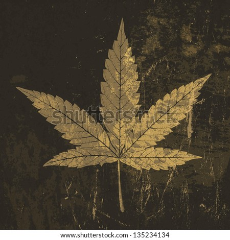 Cannabis leaf grunge icon. With stained texture, vector - stock vector
