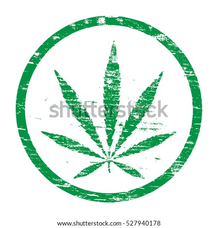 Cannabis leaf grungy rubber stamp vector illustration