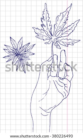 cannabis leaf hand drawn vector design template