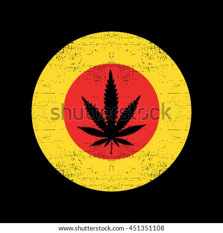 Cannabis leaf on yellow and red grunge background circle. Vector illustration