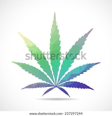 Cannabis leaf, polygonal illustration - stock vector