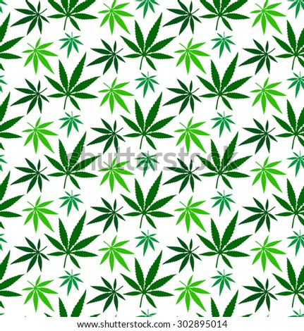 cannabis marijuana leaf vector seamless pattern - stock vector