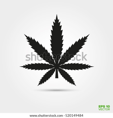 Cannabis symbol. Solid black marijuana leaf vector icon.