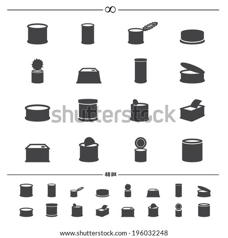 canned food icons.vector eps10 - stock vector
