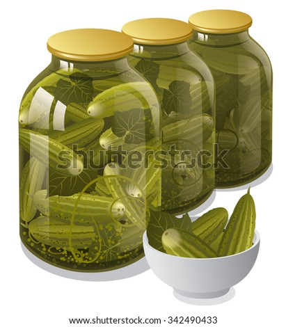 canned jars of cucumbers