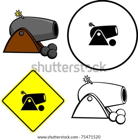 cannon illustration, sign and symbol - stock vector