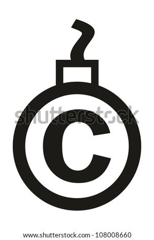 Cannonball-shaped copyright sign - conceptual vector illustration - stock vector