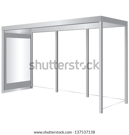 Canopy for a public transportation stop with space for advertising poster. Vector illustration. - stock vector