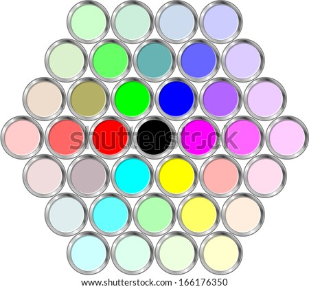 Cans of paint in the hexagonal - stock vector