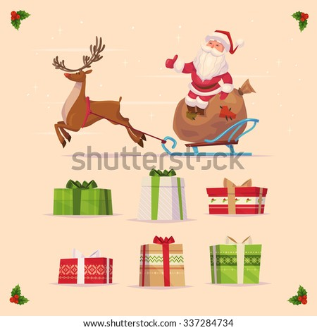 Canta claus and christmas gifts set  on yellow background. Christmas card poster banner. Vector illustration. Happy new year and Merry Christmas. - stock vector