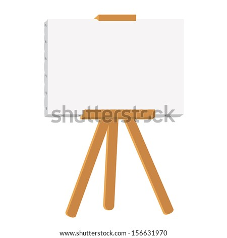canvas painting on easel isolated illustration - stock vector