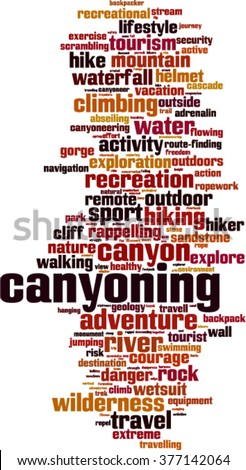 Canyoning word cloud concept. Vector illustration