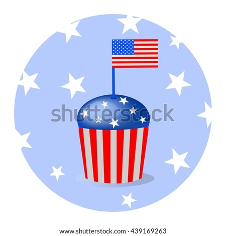 Cap cake for independence day, 4 july.
