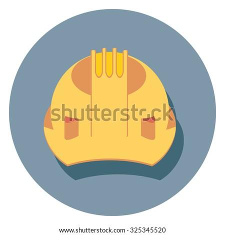 cap flat icon in circle - stock vector