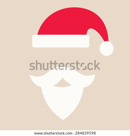 Cap of Santa Claus and mustache with a beard isolated on beige background - stock vector