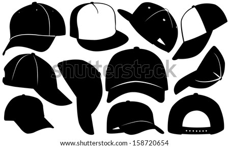 cap set isolated on white - stock vector