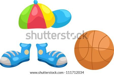 cap - shoes -basketball  vector Illustraiton - stock vector
