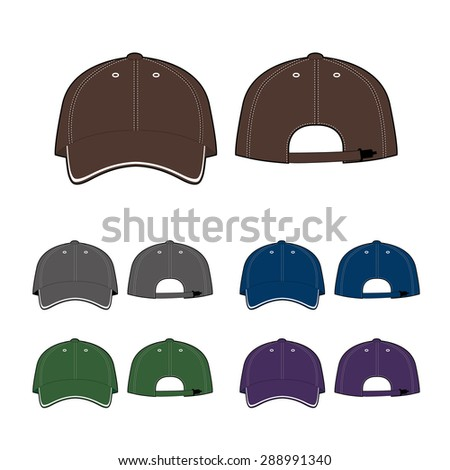 Cap template. Front and back view. Vector illustration on white background.