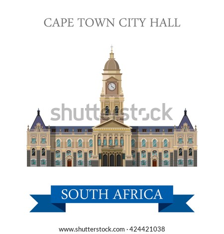 Cape Town City Hall in South Africa. Flat cartoon style historic sight showplace attraction web site vector illustration. World countries cities vacation travel sightseeing Africa collection. - stock vector