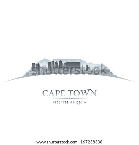 Cape Town South Africa city skyline silhouette. Vector illustration - stock vector