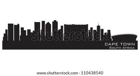 Cape Town, South Africa skyline. Detailed vector silhouette - stock vector